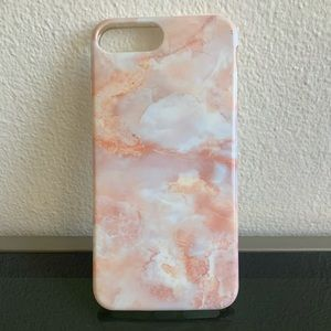 iPhone 7 Plus Durable Marble Rubber Cover Pink